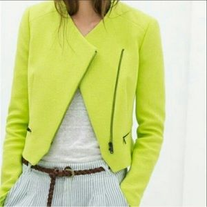 Zara Trafaluc Neon Green Bright Zipper Blazer Sz S